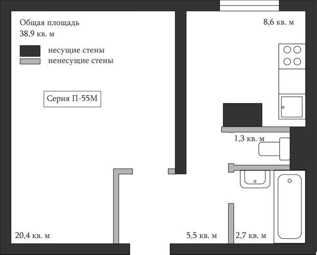 Фотография: Планировки в стиле , Перепланировка, Анастасия Киселева, Максим Джураев, однушка для семьи, П-44, П-55М, И-700А – фото на INMYROOM