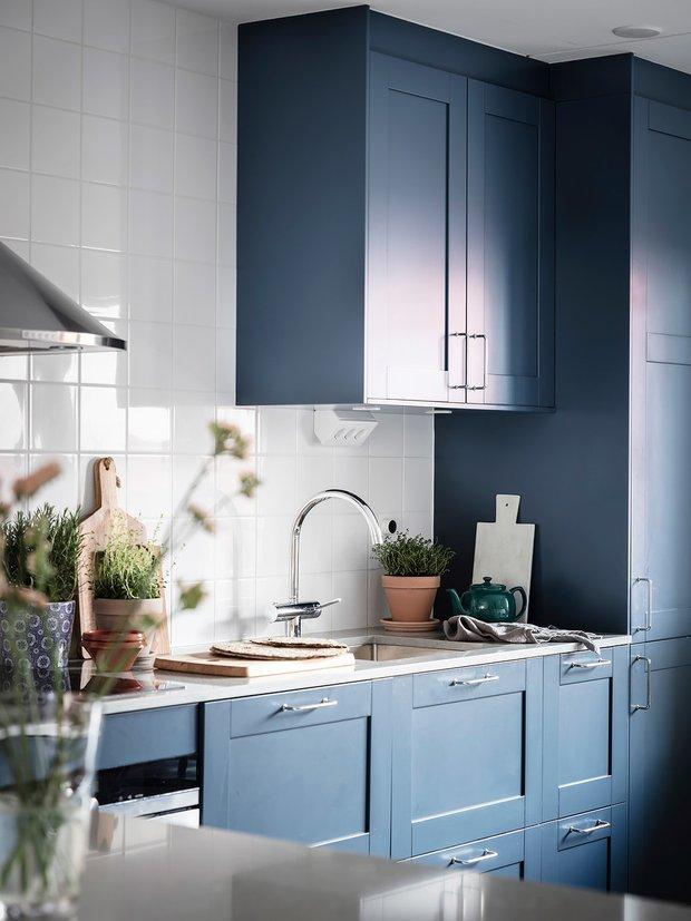 Фотография: Кухня и столовая в стиле Скандинавский, Декор интерьера, Квартира, Планировки, Декор, Белый, Синий, Серый, Эко, 2 комнаты – фото на INMYROOM