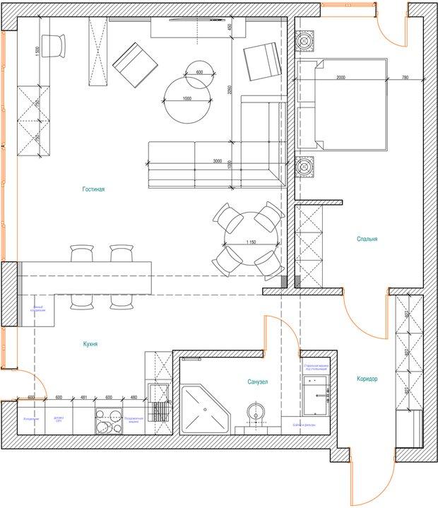 Фотография: Кухня и столовая в стиле Современный, Хай-тек, Классический, Квартира, Планировки, Мебель и свет, Проект недели – фото на InMyRoom.ru