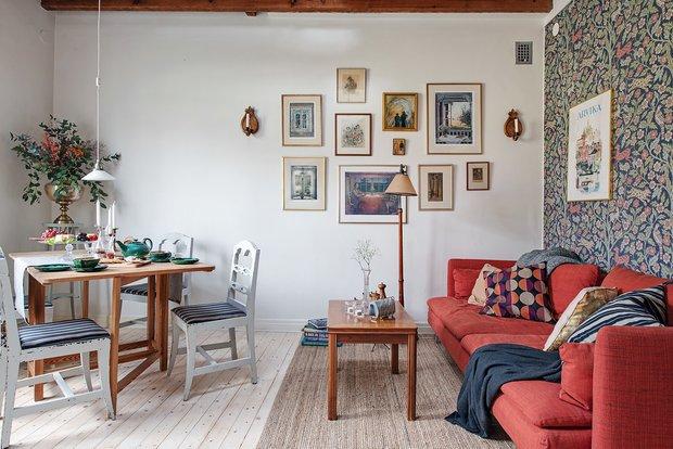 Фотография: Гостиная в стиле Скандинавский, Декор интерьера, Квартира, Швеция, Гетеборг, скандинавский интерьер, Отделка стен, интерьер с кирпичной кладкой, 2 комнаты, 60-90 метров – фото на INMYROOM