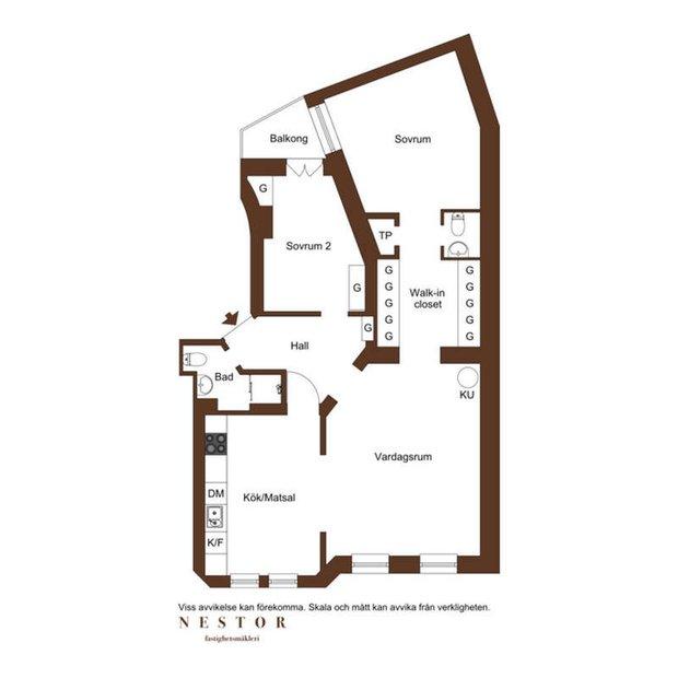 Фотография: Планировки в стиле , Классический, Скандинавский, Декор интерьера, Швеция, Бежевый, Стокгольм, Серый, 3 комнаты, 60-90 метров – фото на INMYROOM
