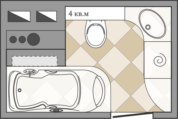 Фотография: Гостиная в стиле Современный, Ванная, Перепланировка, ИП-46с, Анастасия Киселева – фото на INMYROOM