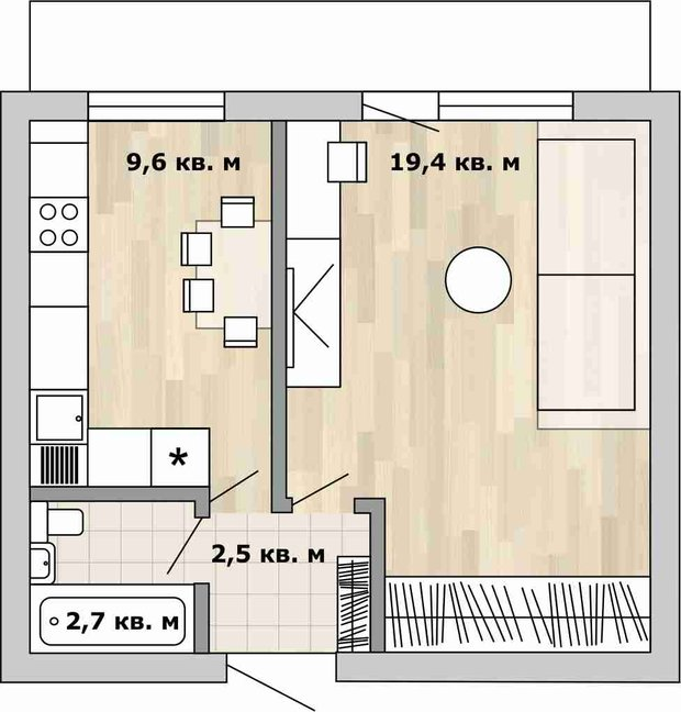 Фотография:  в стиле , Перепланировка, Анастасия Киселева, Максим Джураев, дом серии И209-А, как обустроить однокомнатную квартиру в блочном доме, перепланировка однушки в блочном доме, Блочный дом – фото на INMYROOM