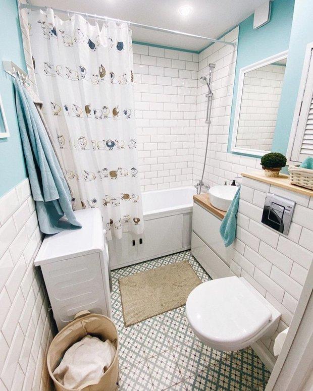 Фотография:  в стиле , Ванная, Ремонт на практике, идеи для ванной комнаты, ванная в брежневке, ремонты ванной комнаты – фото на INMYROOM