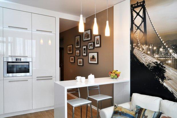 Фотография: Кухня и столовая в стиле Современный, Гостиная, Малогабаритная квартира, Квартира, Интерьер комнат, Фотообои – фото на INMYROOM
