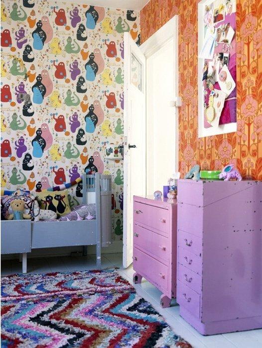 Фотография: Детская в стиле Современный, Интерьер комнат, Обои, Ремонт, Стены, Краска – фото на INMYROOM