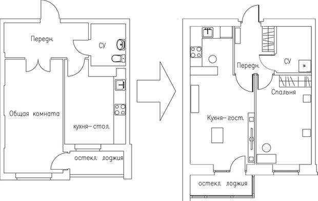 Фотография: Гостиная в стиле Классический, Кухня и столовая, Малогабаритная квартира, Квартира, Дома и квартиры – фото на INMYROOM