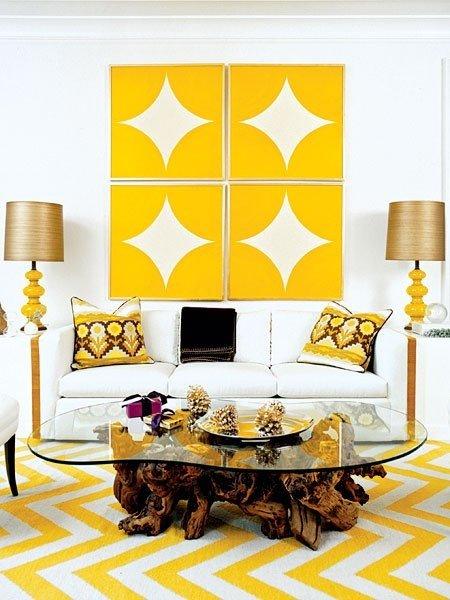 Фотография: Гостиная в стиле Скандинавский, Эклектика, Декор интерьера, Дизайн интерьера, Цвет в интерьере, Желтый – фото на INMYROOM