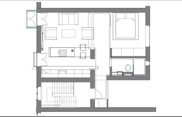 Фотография: Планировки в стиле , Малогабаритная квартира, Квартира, Цвет в интерьере, Дома и квартиры, Белый, Минимализм – фото на InMyRoom.ru