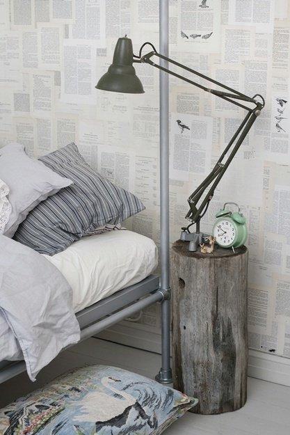 Фотография: Спальня в стиле Лофт, Скандинавский, Интерьер комнат, Кровать, Гардероб, Комод, Пуф, Табурет – фото на INMYROOM