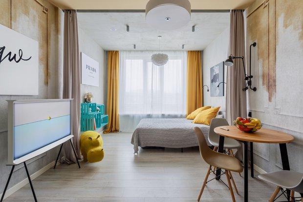 Фотография: Спальня в стиле Эклектика, Малогабаритная квартира, небольшая спальня – фото на INMYROOM