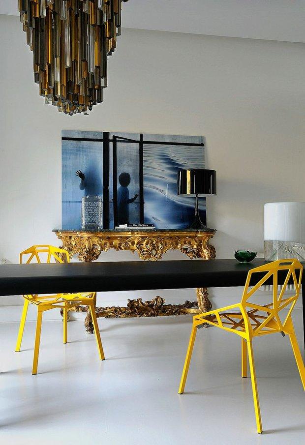 Фотография: Кухня и столовая в стиле Эклектика, Декор интерьера, Дизайн интерьера, Цвет в интерьере, Желтый – фото на INMYROOM