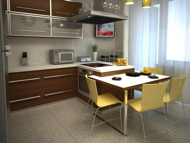 Фотография: Кухня и столовая в стиле Современный, Квартира, Советы, Уютная квартира, кухня в хрущевке, как обустроить кухню в хрущевке, малометражная кухня, зонирование кухни в хрущевке, Хрущевка – фото на INMYROOM