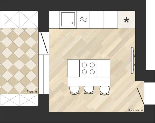 Фотография: Кухня и столовая в стиле Классический, Перепланировка, Анастасия Киселева, Максим Джураев, И-79-99 – фото на INMYROOM