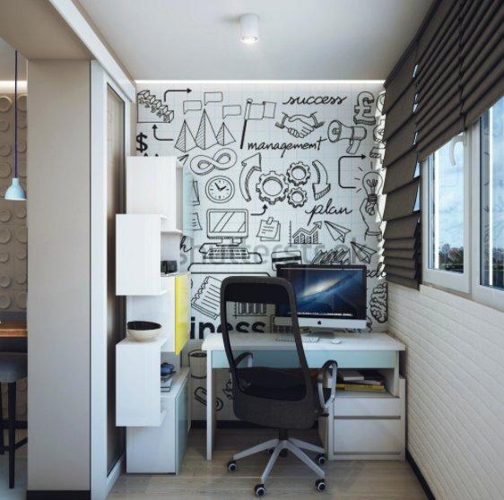 Фотография: Кабинет в стиле Современный, Балкон, Квартира, Советы – фото на INMYROOM