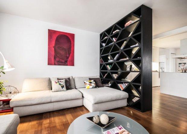Фотография: Гостиная в стиле Скандинавский, Современный, Детская, Квартира, Дома и квартиры, Стеллаж, Геометрия в интерьере – фото на INMYROOM
