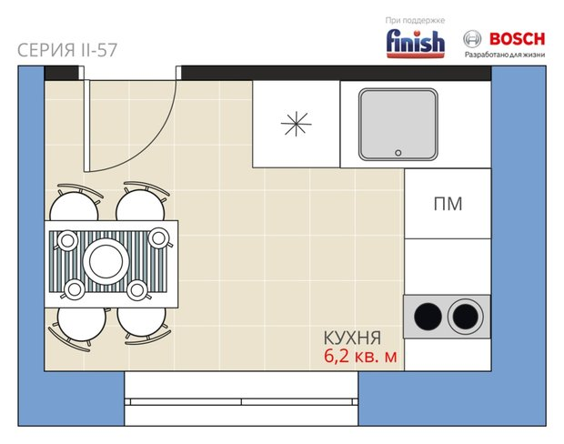 Фотография:  в стиле , Кухня и столовая, Перепланировка, Анастасия Киселева, Максим Джураев, II-57 – фото на INMYROOM