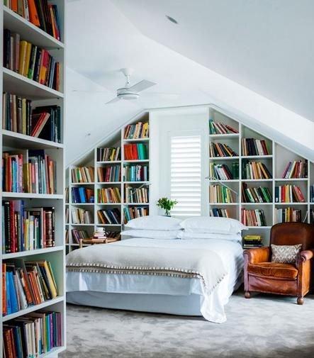 Фотография: Спальня в стиле Скандинавский, Декор интерьера, Декор, Домашняя библиотека, как разместить книги в интерьере, книги в интерьере – фото на INMYROOM