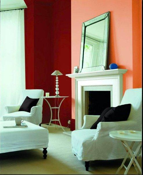Фотография: Гостиная в стиле Современный, Декор интерьера, Дизайн интерьера, Цвет в интерьере, Красный, Dulux, Розовый – фото на INMYROOM
