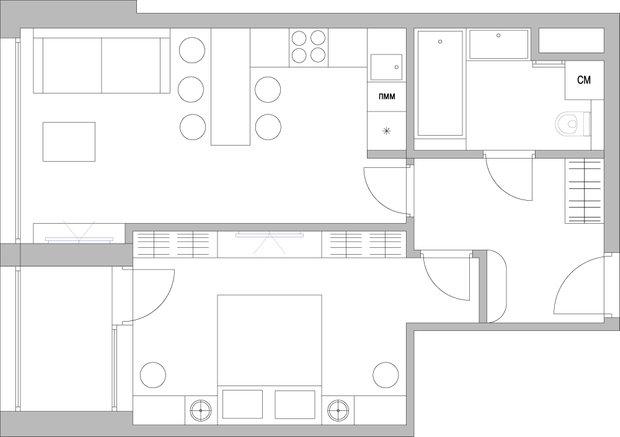 Фотография: Планировки в стиле , Малогабаритная квартира, Советы, Перепланировка, Никита Морозов, KM Studio, КОПЭ-М-Парус, однокомнатная квартира в КОПЭ-М-Парус, ошибки в планировке малогабаритки – фото на INMYROOM