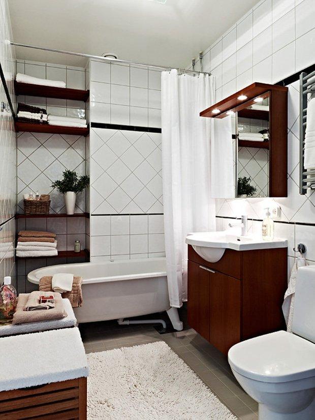 Фотография: Ванная в стиле Скандинавский, Малогабаритная квартира, Интерьер комнат, Советы – фото на INMYROOM