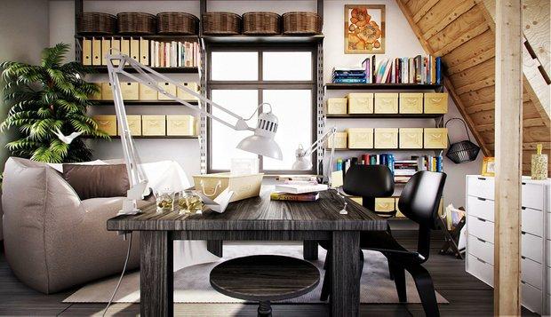 Фотография: Офис в стиле Скандинавский, Дом, Чердак, Мансарда – фото на INMYROOM