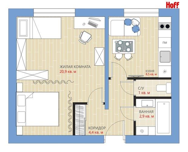 Фотография:  в стиле , Квартира, HOFF, Перепланировка, HOFF, Анастасия Киселева, П-55, Панельный дом, 1 комната, до 40 метров – фото на InMyRoom.ru