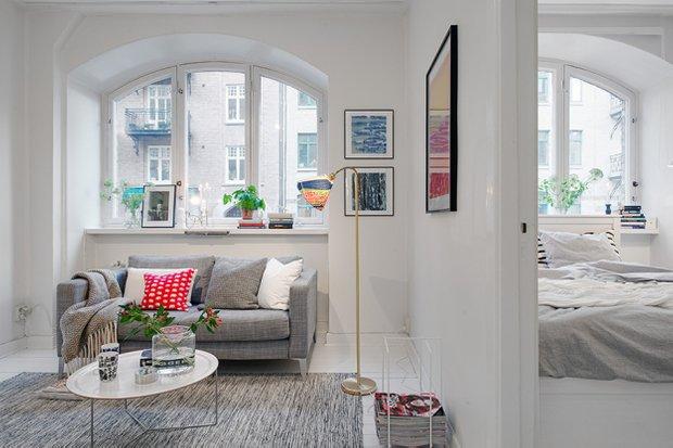 Фотография: Гостиная в стиле Скандинавский, Малогабаритная квартира, Квартира, Швеция, Дома и квартиры, Гетеборг – фото на InMyRoom.ru