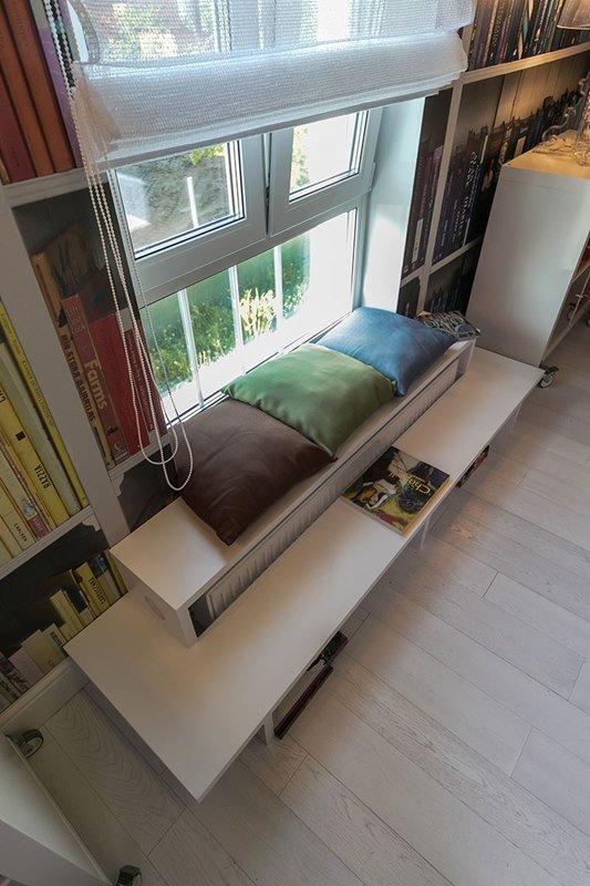 Фотография:  в стиле Современный, Спальня, Лофт, Интерьер комнат, Дача, Дачный ответ, Библиотека, Мансарда – фото на InMyRoom.ru