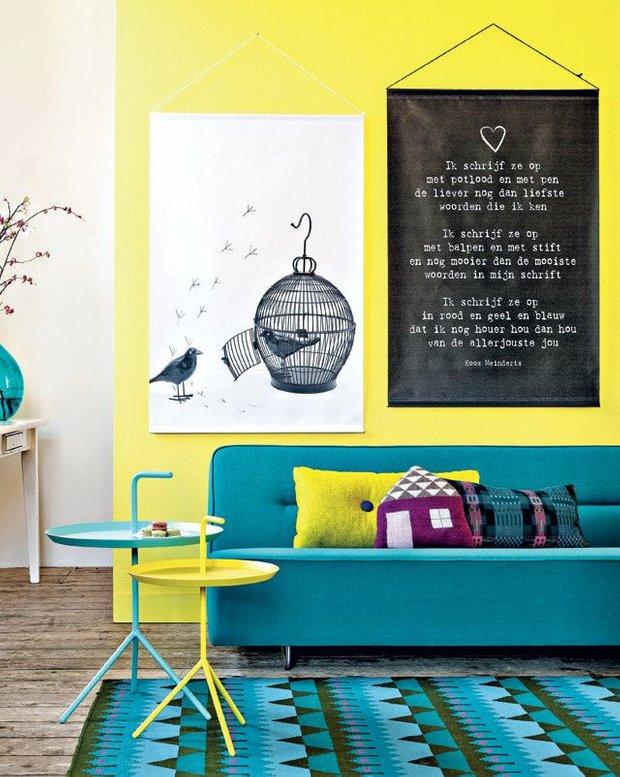 Фотография: Гостиная в стиле Скандинавский, Современный, Декор интерьера, Дизайн интерьера, Цвет в интерьере, Желтый – фото на INMYROOM