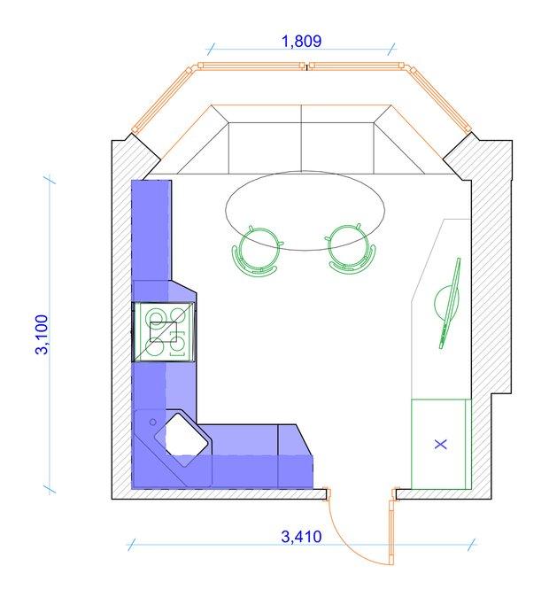Фотография: Планировки в стиле , Кухня и столовая, Квартира, Дома и квартиры, П44т – фото на INMYROOM