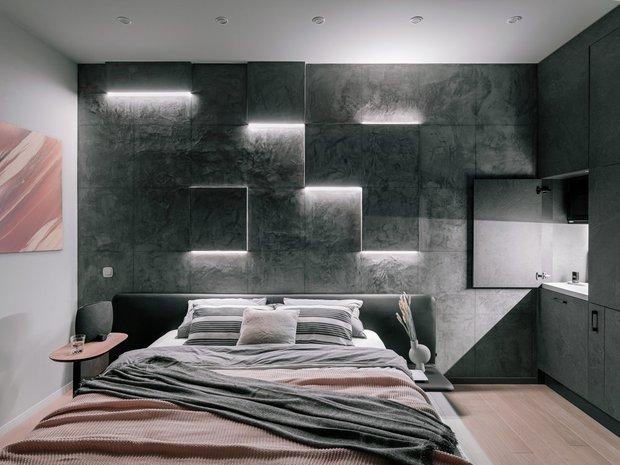 Фотография: Спальня в стиле Минимализм, Декор интерьера, Декоративная штукатурка, декор стен, Loggia, микроцемент – фото на INMYROOM