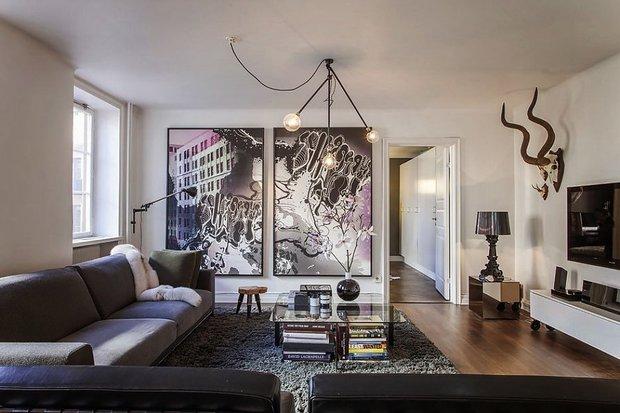 Фотография: Гостиная в стиле Современный, Скандинавский, Малогабаритная квартира, Квартира, Цвет в интерьере, Дома и квартиры, Белый – фото на InMyRoom.ru