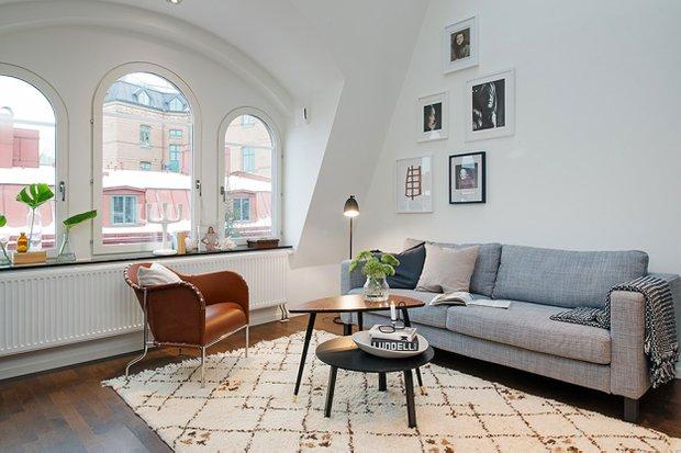 Фотография: Гостиная в стиле Скандинавский, Квартира, Дома и квартиры, Стокгольм – фото на INMYROOM