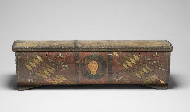 Сундук украшенным гербом и эмблемами семьи Медичи. Ок. 1450–1460. Произведен во Флоренции, Италия
