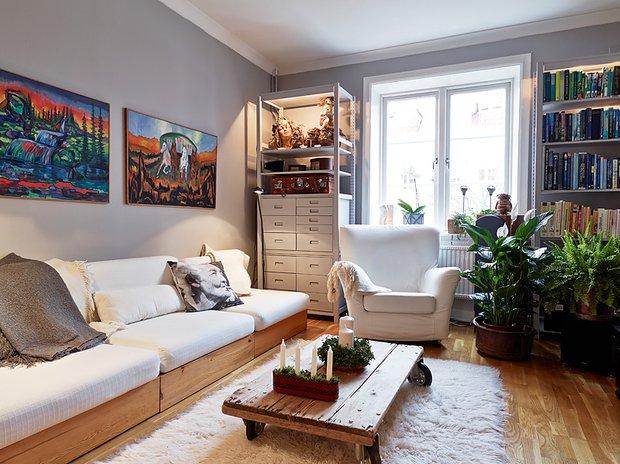 Фотография: Гостиная в стиле Скандинавский, Малогабаритная квартира, Квартира, Цвет в интерьере, Дома и квартиры, Белый, Гетеборг, 2 комнаты, 40-60 метров – фото на InMyRoom.ru