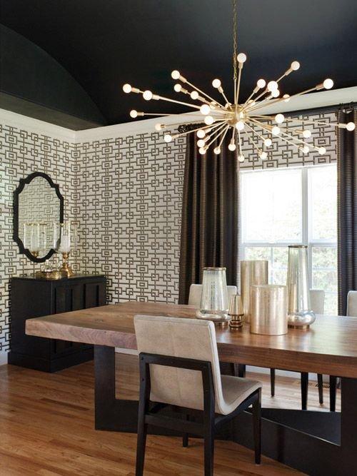Фотография: Кухня и столовая в стиле Эклектика, Декор интерьера, Дизайн интерьера, Цвет в интерьере, Потолок – фото на INMYROOM