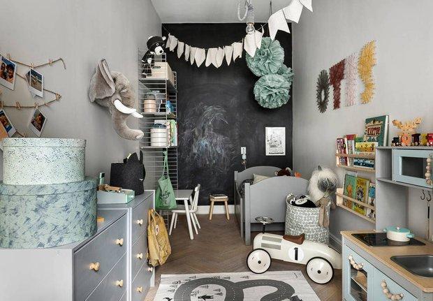 Фотография: Детская в стиле Скандинавский, Декор интерьера, Квартира, Швеция, Декор, Мебель и свет, Стокгольм, Серый, интерьер в скандинавском стиле, 3 комнаты, 60-90 метров, монохромный интерьер – фото на INMYROOM