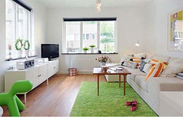 Фотография: Гостиная в стиле Скандинавский, Малогабаритная квартира, Квартира, Швеция, Цвет в интерьере, Дома и квартиры, Белый – фото на INMYROOM