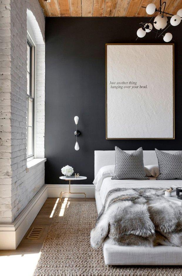 Фотография: Спальня в стиле Лофт, Скандинавский, Текстиль, Дизайн интерьера, Ремонт, Краска – фото на INMYROOM