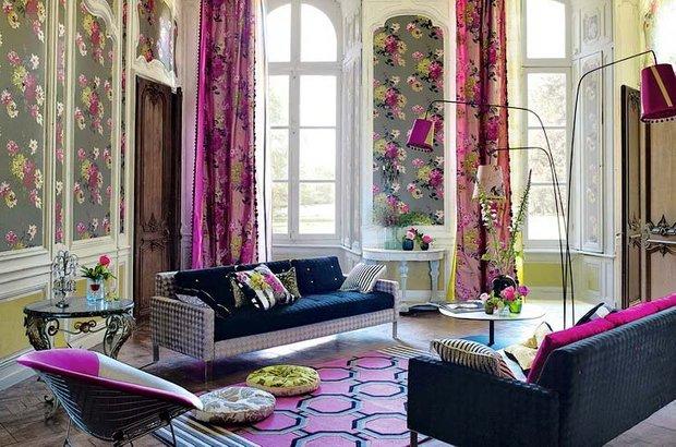 Фотография: Гостиная в стиле Современный, Эклектика, Текстиль, Стиль жизни, Советы, Цветы – фото на INMYROOM