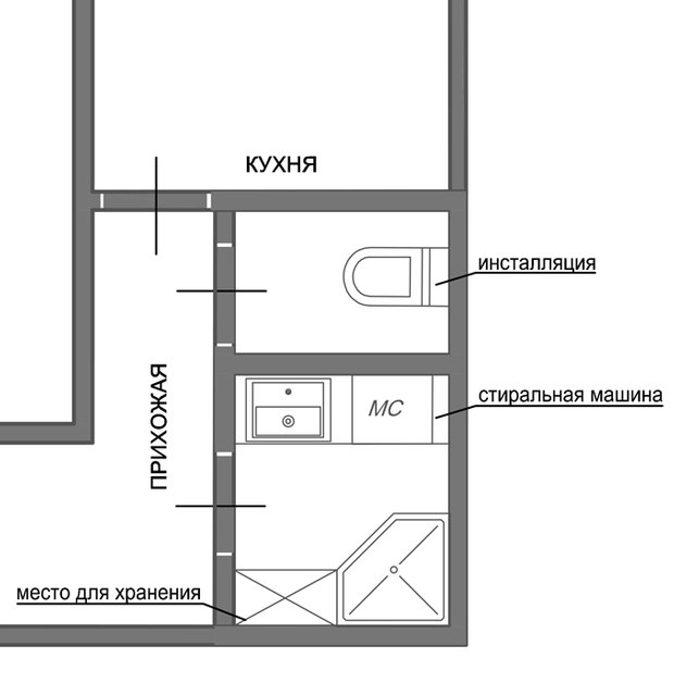 Фотография: Планировки в стиле , Ванная, 8, Перепланировка, планировка санузла, санузел в двухкомнатной квартире дома серии 83, перепланировка маленького санузла, планировка для маленького санузла – фото на INMYROOM