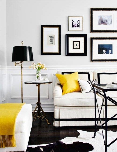 Фотография: Гостиная в стиле Прованс и Кантри, Декор интерьера, Аксессуары, Декор, Белый, Черный, Желтый, Серый, Бирюзовый – фото на INMYROOM
