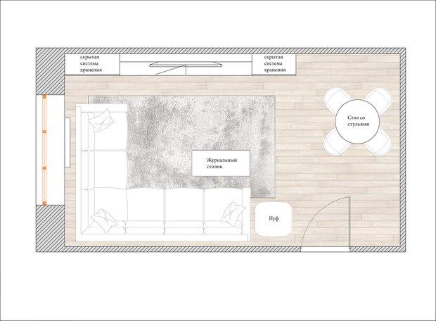 Планировка гостиной в стиле минимализм