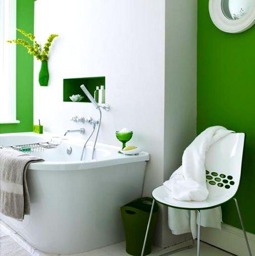 Фотография: Ванная в стиле Современный, Минимализм, Декор интерьера, Дизайн интерьера, Декор, Зеленый, Ванна, Эко – фото на INMYROOM