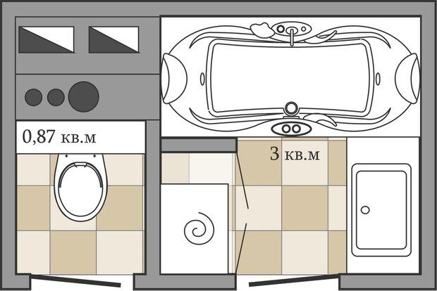 Фотография: Ванная в стиле Скандинавский, Перепланировка, ИП-46с, Анастасия Киселева – фото на INMYROOM