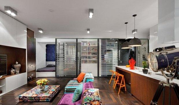 Фотография: Гостиная в стиле Лофт, Спальня, Малогабаритная квартира, Квартира, Дома и квартиры, Перепланировка – фото на INMYROOM