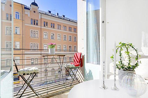 Фотография: Балкон, Терраса в стиле Скандинавский, Малогабаритная квартира, Квартира, Дома и квартиры, Стокгольм – фото на InMyRoom.ru