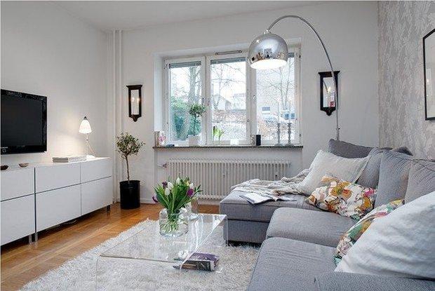 Фотография: Гостиная в стиле Скандинавский, Малогабаритная квартира, Квартира, Индустрия, События – фото на INMYROOM