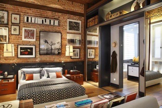 Фотография: Спальня в стиле Лофт, Квартира, Дома и квартиры, Стеллаж, Барная стойка – фото на INMYROOM